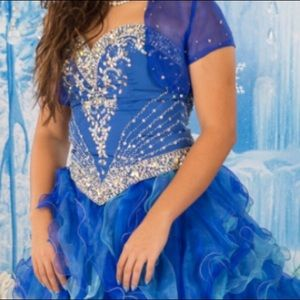 3pc Prom dress/quinceanera Crystals/beads blue 10